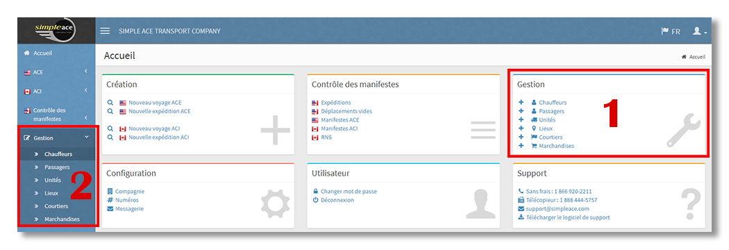 Nouvelle version - Menu Gestion